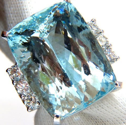 GIA 39.10ct NATURAL CUSHION CUT AQUAMARINE DIAMONDS RING 14kt VIVID AQUA