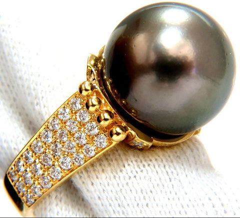 14.50MM Natural Tahitian Peacock Pearl & .75ct. Diamonds ring 14kt