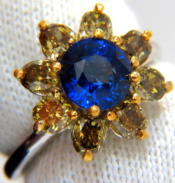 3.16CT NATURAL ROYAL BLUE ROUND SAPPHIRE FANCY COLOR DIAMONDS CLUSTER RING