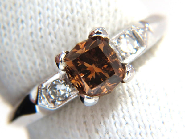 1.12CT NATURAL FANCY BRIGHT ORANGE BROWN DIAMOND RING PLATINUM VS