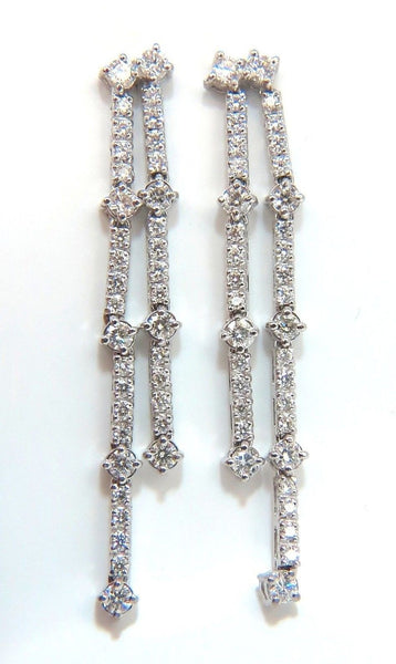 2.33ct natural round diamonds two rowed five tier dangle earrings 14kt gvs