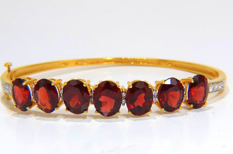 16.75ct NATURAL RED GARNET DIAMONDS BANGLE BRACELET 14KT