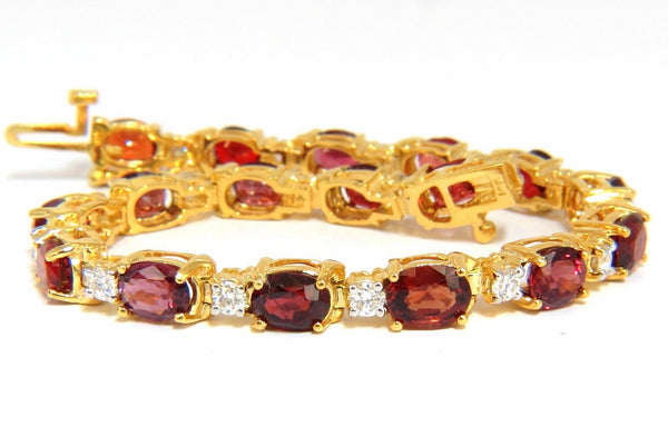 14.81ct NATURAL NO HEAT RED SPINEL DIAMONDS TENNIS BRACELET 14KT UNHEATED