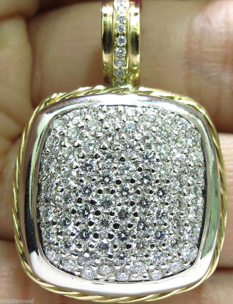 2.40CT DIAMONDS CLUSTER PAVE PENDANT // 2 TONED ROPE TWIST & 14kt