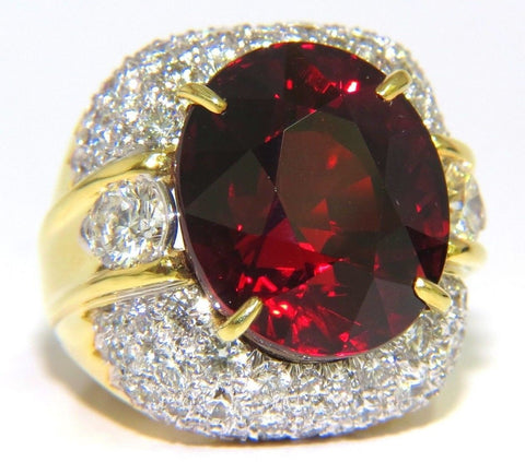 32.64ct GIA NATURAL RED SPESSARTITE GARNET DIAMONDS RAISED DOME RING 18KT