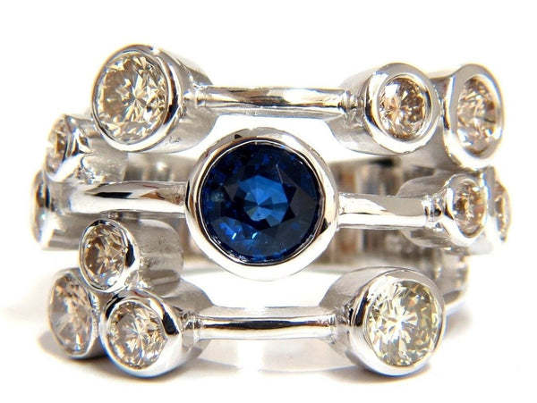 3.20ct NATURAL SAPPHIRE FANCY BROWN DIAMONDS RING 14KT STATION FLUSH DECO