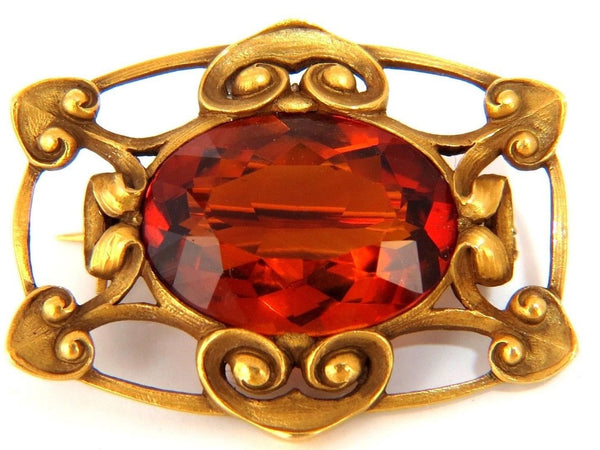 PARISIAN MOD 14KT 10.00ct. NATURAL ORANGE YELLOW CITRINE BROOCH PIN GILT DECO