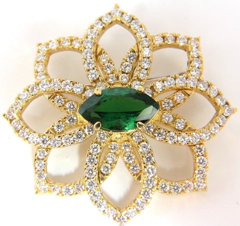 GIA 7.63ct. NATURAL VIVID GREEN MARQUISE TSAVORITE DIAMONDS BROOCH PIN