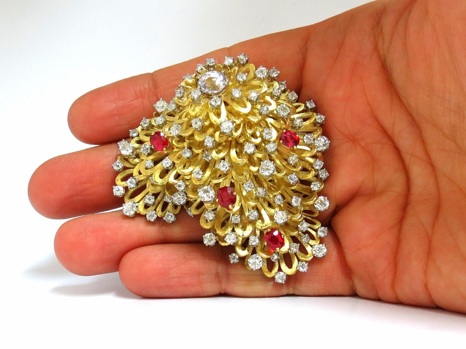 ERWIN PEARL 8.00ct. NATURAL DIAMONDS & RED SPINEL BROOCH PIN 18KT