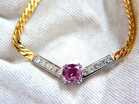 "GIA 2.52ct NATURAL NO HEAT PINK SAPPHIRE DIAMONDS ""V"" NECKLACE 14KT"