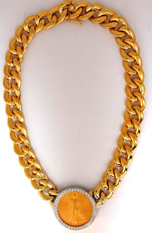 1908 LIBERTY FINE GOLD COIN 2.00CT DIAMONDS CUBAN LINK NECKLACE HUGE