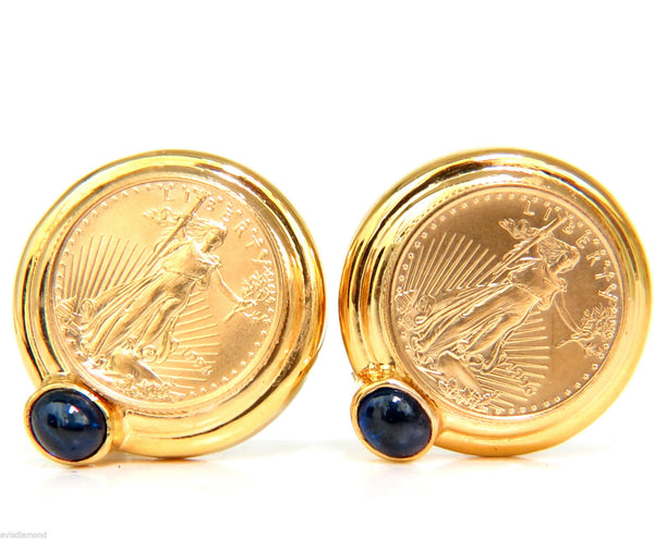 1996 AMERICAN LIBERTY FINE GOLD COIN SAPPHIRE EARRINGS CLASSIC OMEGA