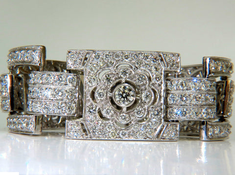 18KT 20.00CT DIAMONDS ART DECO CLASSIC LINK CUFF BRACELET CLUSTER