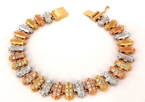 1.50CT DIAMONDS BAR LINKED TRI-COLOR 18KT GOLD BRACELET SATIN BRUSH FINISH