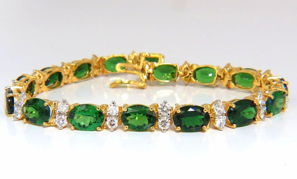 21.68CT NATURAL VIVID BRIGHT GREEN TSAVORITE DIAMONDS TENNIS BRACELET