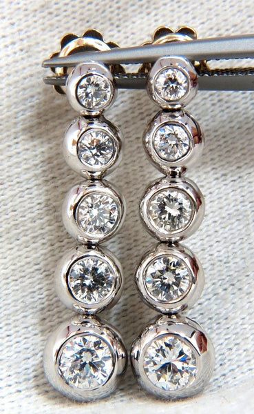 2.04ct NATURAL ROUND DIAMONDS BEZEL FLUSH 5 TIER DANGLE EARRINGS JAZZ