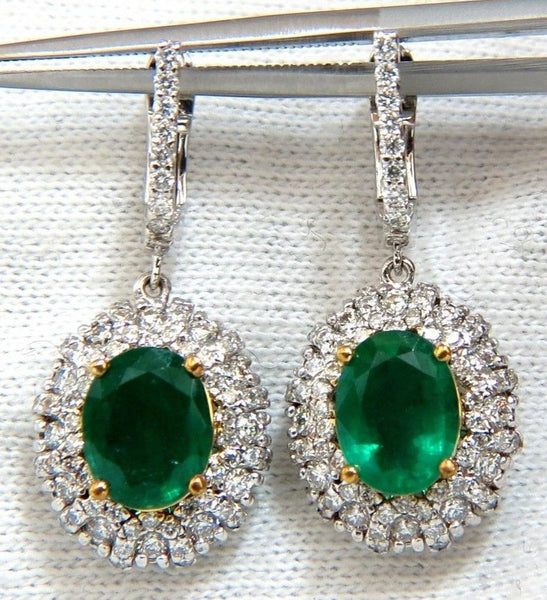 4.84ct NATURAL VIBRANT GREEN EMERALD DIAMOND CLUSTER EARRINGS DANGLE 14K