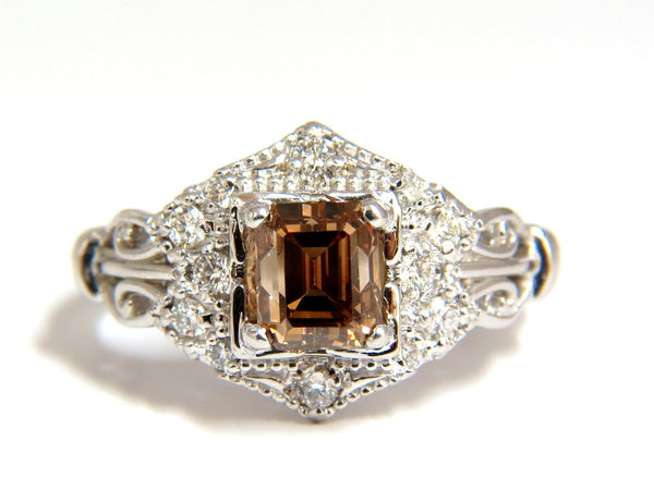 1.39ct NATURAL FANCY BROWN EMERALD CUT DIAMOND RING VS2 VICTORIAN DECO