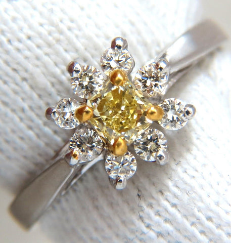 .60CT NATURAL FANCY YELLOW DIAMOND RING 14KT PETITE CLUSTER