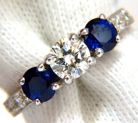 1.85ct NATURAL BLUE SAPPHIRE DIAMONDS RING 14KT CLASSIC THREE BEAD SET