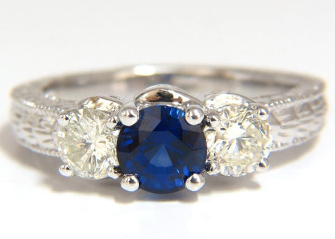 2.14ct NATURAL BLUE SAPPHIRE DIAMONDS RING 14KT CLASSIC EDWARDIAN DECO