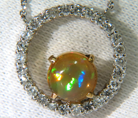 2.60CT NATURAL VIBRANT OPAL DIAMOND NECKLACE 14KT