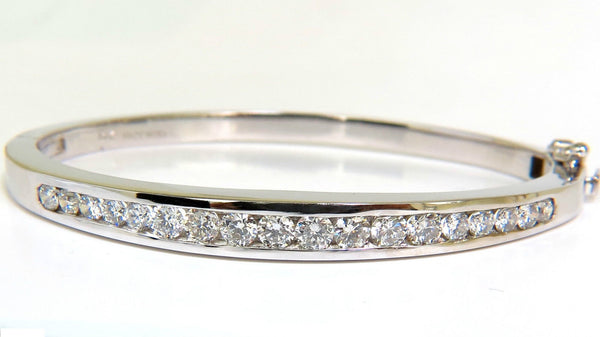 USA 2.60CT DIAMOND BANGLE BRACELET F/VS 14KT HEAVY SOLID BUTTON LOCKED