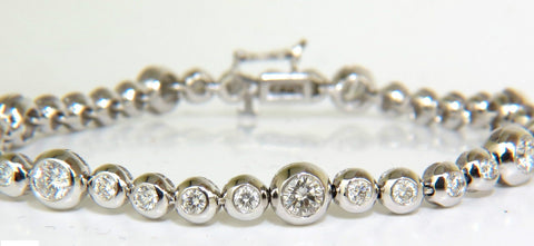 3.65CT GRAND BEZEL DIAMOND TENNIS BRACELET 14KT FLUSH ANTI CATCH