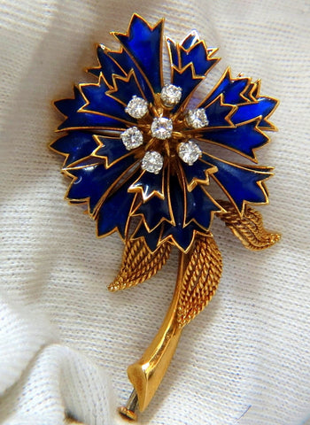 18KT FRANCE FLORAL FORM ROTARY BLUE PETAL DIAMONDS PIN UNUSUAL