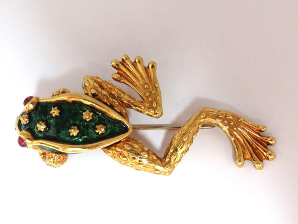 18KT TOAD PIN GREEN ENAMEL INTRICATE DETAIL 3D VINTAGE UNIQUE