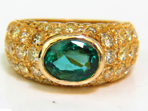 6.30CT ETERNITY NATURAL EMERALD FANCY YELLOW DIAMONDS RING A+ MICRO SET
