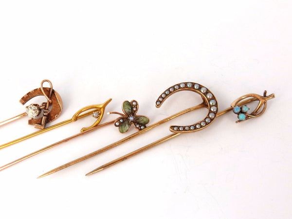 LOT OF (6) ANTIQUE HAT PINS COLLECTOR CLASSIC HORSESHOE JICKEY IRISH CLOVER