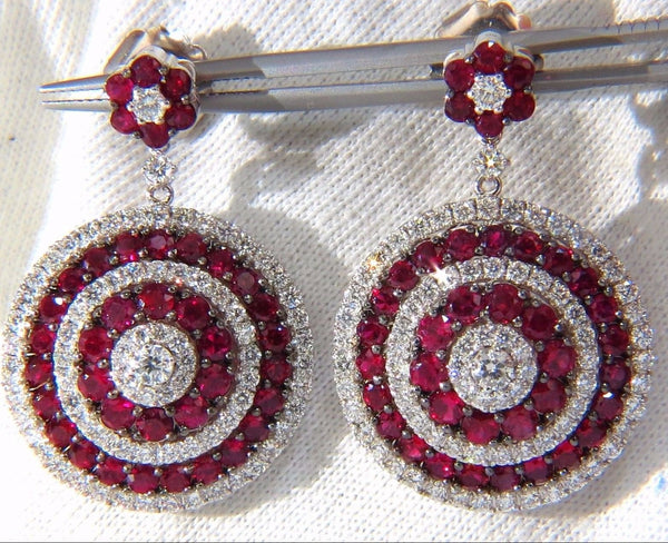 9.74ct NATURAL RED RUBY DIAMOND DANGLING EARRINGS 18KT ROULETTE BULLS EYE