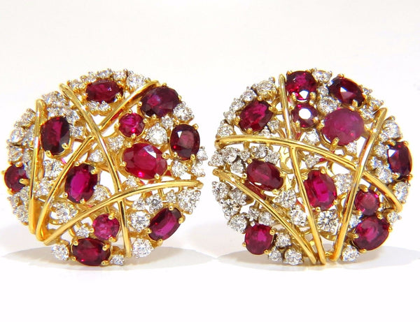 13.20ct NATURAL RED RUBY DIAMOND COCKTAIL CLUSTER EARRINGS MOD DECO STRIP