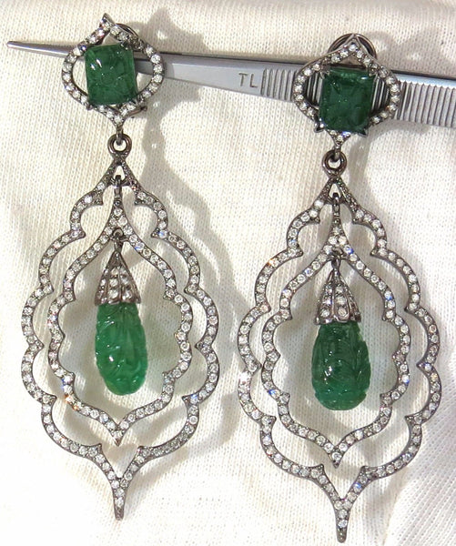 29.50ct NATURAL CARVED EMERALDS DIAMONDS DANGLING EARRINGS LARGE SIZE