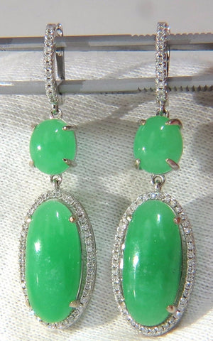 27.80ct GREEN QUARTZ DIAMOND DANGLE EARRINGS 14KT
