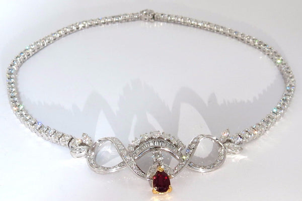 GIA 21.19CT NATURAL RUBY DIAMONDS ETERNITY RIVERA CLUSTER NECKLACE DECO