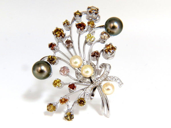 6.00ct NATURAL FANCY COLOR YELLOW ORANGE BROWN PINK DIAMOND BROOCH &PEARL