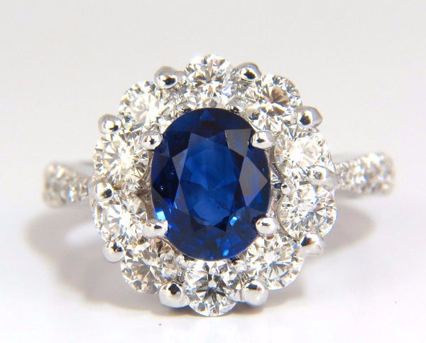 GIA 3.67CT NATURAL VIVID ROYAL BLUE DIAMONDS RING CLUSTER HALO 18KT