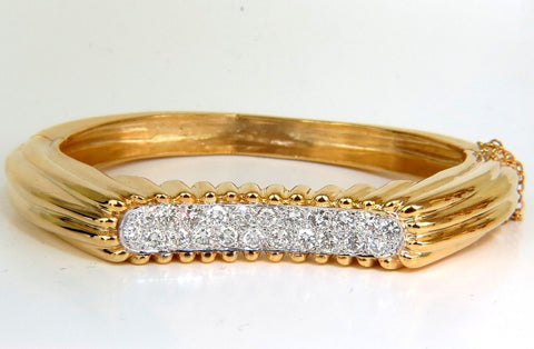 2.30CT INVERTED ARCH GRILLED WAVE RETRO 14KT DIAMONDS BANGLE BRACELET
