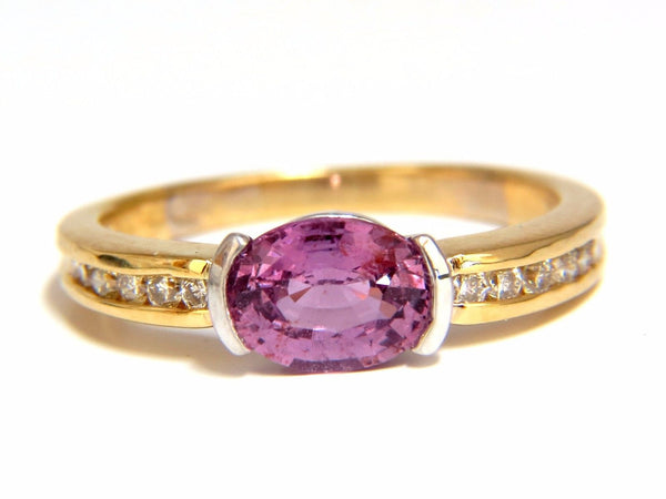 GIA 1.78CT NATURAL NO HEAT BRIGHT PINK SAPPHIRE DIAMOND RING 18KT