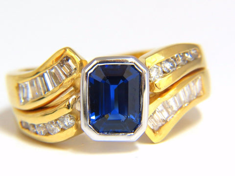 2.44ct NATURAL BLUE SAPPHIRE DIAMONDS RING 14KT ROYAL BLUE TRADITIONAL