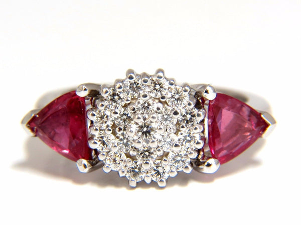 2.00ct NATURAL PINK SAPPHIRE DIAMONDS RING 14KT CIRCULAR CLUSTER TOP