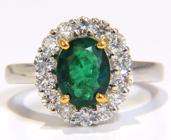 2.46CT NATURAL EMERALD DIAMONDS RING 18KT VIVID GREEN HALO A+
