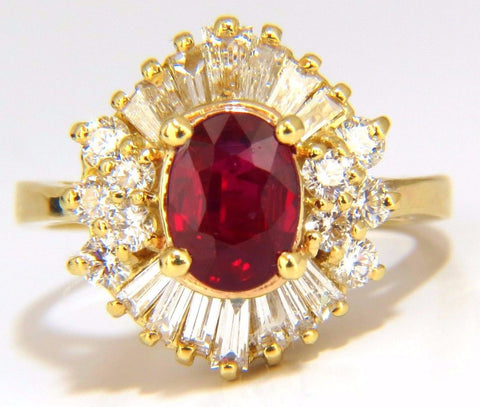 GIA 2.60CT NATURAL OVAL VIVID RED RUBY DIAMONDS COCKTAIL RING 18KT