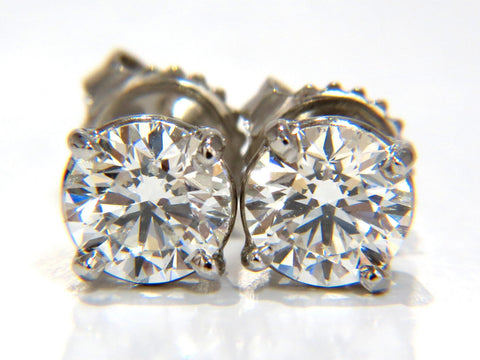 GIA 1.80CT NATURAL ROUND BRILLIANT DIAMOND STUD EARRINGS PLATINUM IDEAL