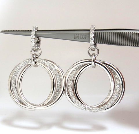 1.26ct NATURAL ROUND DIAMONDS DANGLE ROLLING RINGS EARRINGS 14KT LARGE