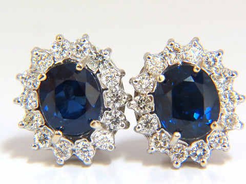 X7.80CT SWISS DUNAIGRE NO HEAT NATURAL SAPPHIRE DIAMOND EARRINGS 18KT