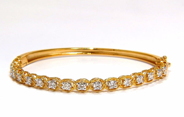 1.37CT ROPE TWIST ENCASE NATURAL ROUND DIAMONDS BANGLE BRACELET 14KT