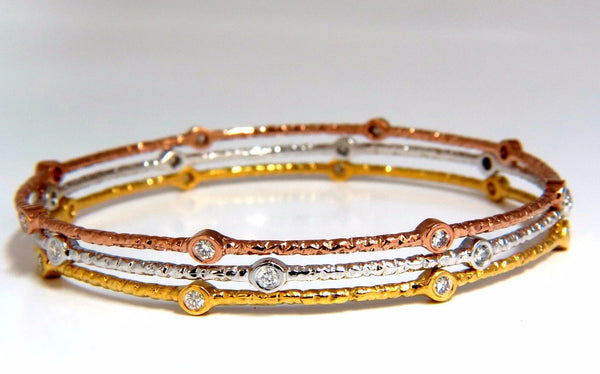 .96CT ROUND DIAMONDS STACKING BANGLE BRACELETS 14KT HAMMER RUSTIC FINISH
